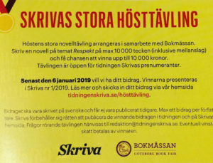 """Tidningen Skriva hade en novelltävling på tema """"respekt"""""""